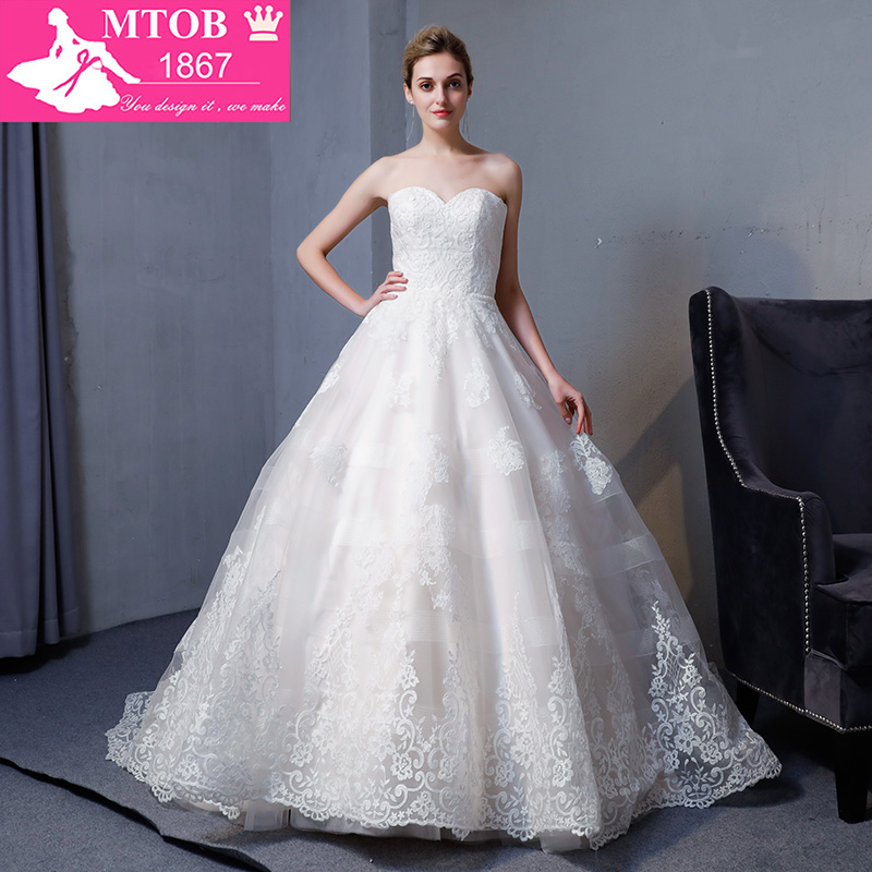 New Design A Line Lace Wedding Dresses 2018 Sweetheart backless Elegant Sexy Vintage Wedding Gowns China Online Shop MTOB1817Wedding Dresses   -