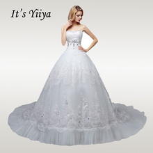 Its YiiYa Wedding Dress Strapless Crystal White Train Dresses Elegant Lace Flowers Sleeveless robe de mariee HS608