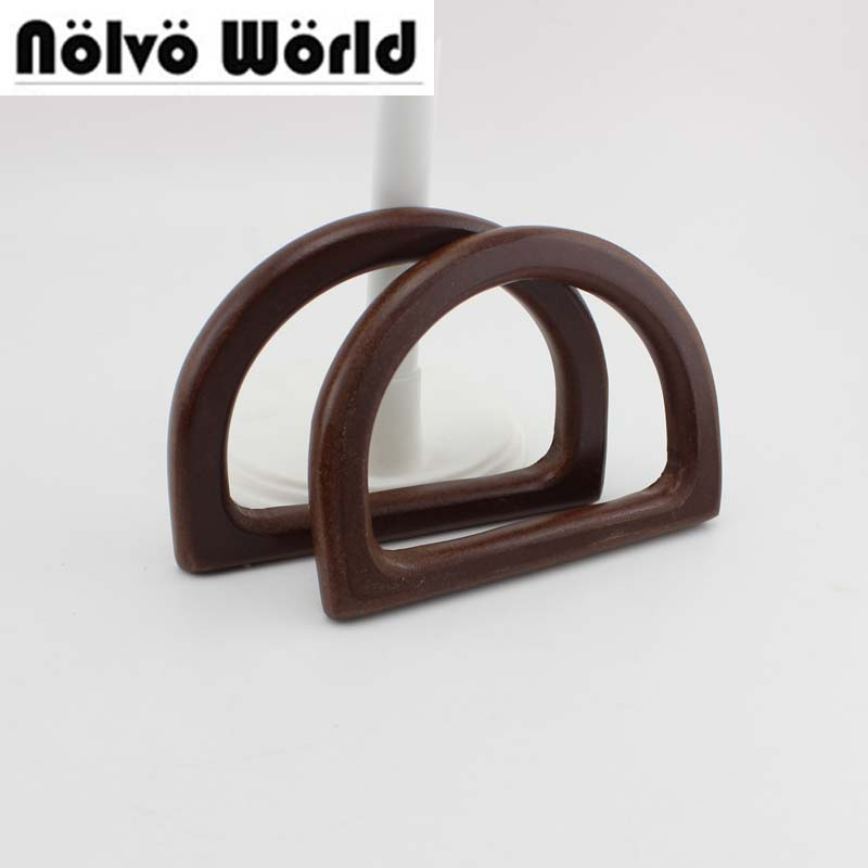5 Pairs=10 Pieces,12X8.5cm 8mm Natural Wood Simply D-shape Small Handle Backpack Bags,lovely Child Bag Small Handles