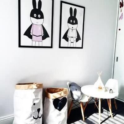 Modern decorative pictures poster art for kids room baby painting black and white batman bunny posters and prints no frame in painting calligraphy from