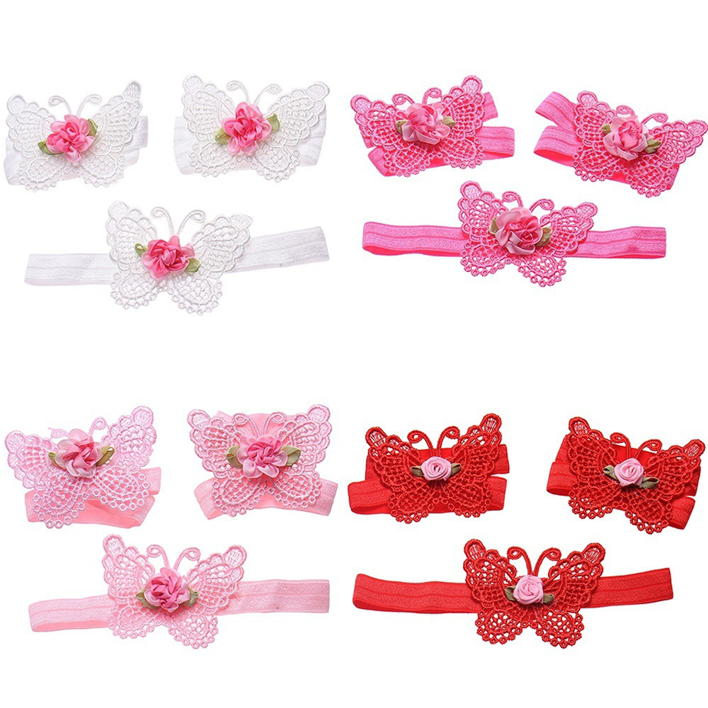 Lovely Baby Girls Infant Crochet Butterfly Headband Knitted Flower Barefoot Sandals Set Beauty Comfortable Stretchy Accessories