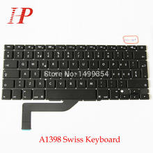 "5 Pcs/Lot pour Macbook Pro Retina 15 ""15.4'' A1398 MC975 MC976 ME664 ME665 ME293 ME293 clavier suisse SW clavier(China)"