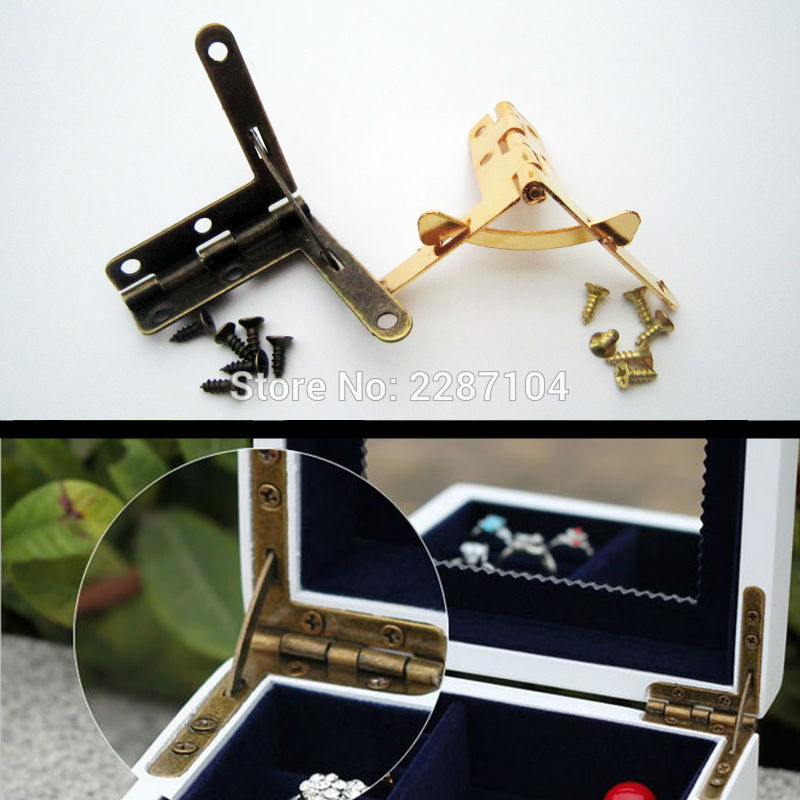 6pc Golden Jewelry Chest Display Box Watch Pen Wine Gift Case Furniture Makeup L 90 Degree Support Spring Hinge With Screws