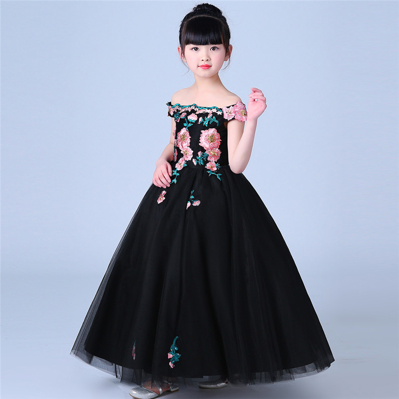 2018 Luxury Embroidery Lace Flowers Children Girls Black Color Elegant Birthday Evening Party Long Dress Kids Baby Host Dress2018 Luxury Embroidery Lace Flowers Children Girls Black Color Elegant Birthday Evening Party Long Dress Kids Baby Host Dress