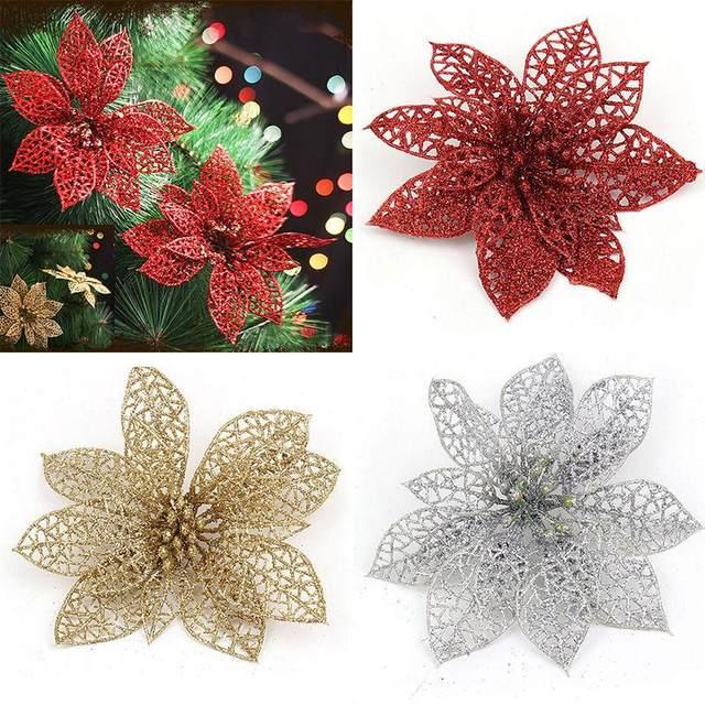 Online-Shop 5 Farben 6 zoll 1 Stück Weihnachtsbaum Glitter Blume ...