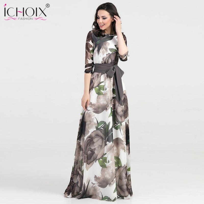2019 Autumn Long Dress Women Boho Vintage Floral Print Floor Length Dresses Elegant Bodycon Slim Female Evening Party Maxi Dress