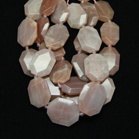 Natural Pink Moon Stone Slice Middle Drilled Slab Pendant Beads,Raw Cut Octangle Gems Slab Graduated Nacklace Beads Jewelry