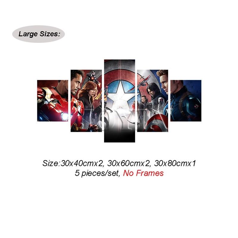 5 unidades piezas vengadores lienzo pared arte Capitán América ...