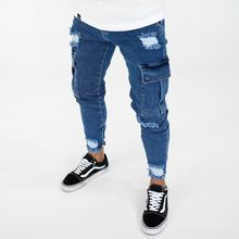 цена на Mens Cargo Biker Jeans Spring Autumn 19ss New Male Street Pockets Cargo Jean Trousers