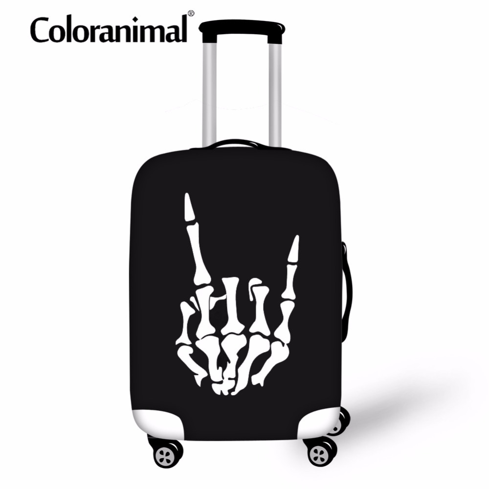 Coloranimal Accessories Luggage Protective Cover Hot Sale 3D Print Travel School Suitcase Case Skull Finger Elastic Bag For18-30