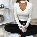 2016 Elegant Halter Knitted Sweater Autumn Winter White Sexy Pullover Women Tops Slim v neck Black Jumper Casual pull femme