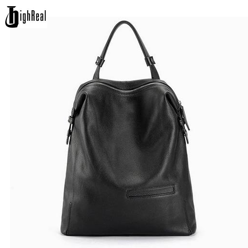 Black Fashion Backpack Women Backpacks Real Leather School Bags For Girls Travel Shoulder Bag Female High Quality Daily Daypacks annmouler famous brand women leather backpack alligator backpacks high quality elegant shoulder bag black school bag for girls