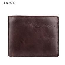 F.N.JACK New Men Short Wallets Brown Bifold Wallet Mens Genuine Leather Card Holder Money bags Cash Purses Pockets