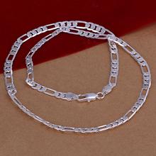 2015 new arrived 925 sterling silver jewelry 6mm Figaro men's chains necklace for men's fine jewerly wholesale promotion 20inch