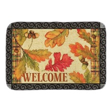Burlap Leaves Fall Doormat Welcome Autumn Leaf Indoor Outdoor Door Mat For Living Room Bedroom Soft Short Plush Fabric Floor Mat