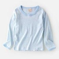 Chłopcy dzieci Casual Striped Kids T Shirt O-neck Proste Bawełniane Ubrania Chłopców Topy Koreański Styl Z Długim Rękawem T-shirty