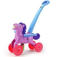 Outdoor Pony Automatic Electric Bubble Machine Toys For Children Kids Toy Music Light Soap Bubbles Car Blower Water Gun Juguete