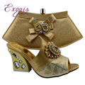 Noble African latest design shoes and bags Italian shoes and matching bag Nigerian Set high heels gold GF49