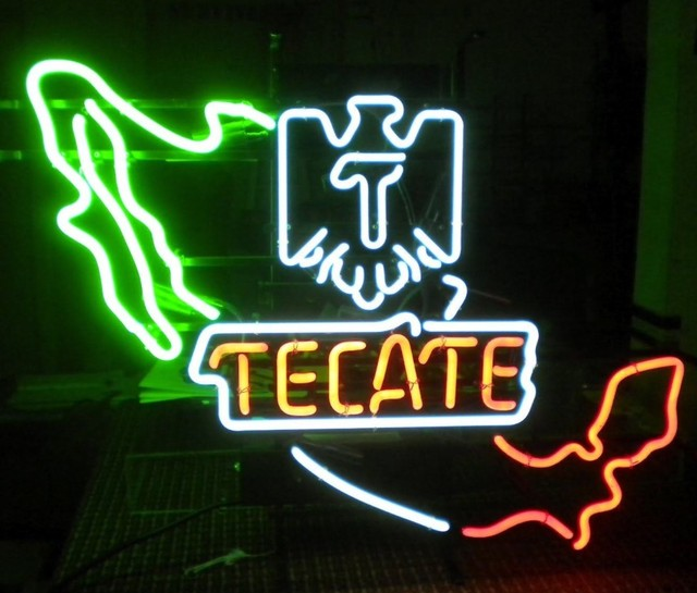 Tecate Mexico Eagle Glass Neon Light Sign Beer Bar