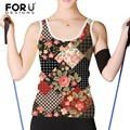 FORUDESIGNS Women Tank Top Shirt Retro Plaid/Floral Printed Sexy Fashion Women's Tops Summer Loose Sleeveless Casual Tank Top