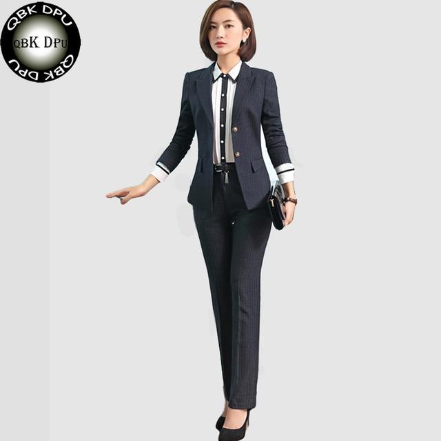 c4753fd77b313 QBK DPU marcas Ropa de negocios slim OL Oficina a rayas blazer mujer trajes  2017 uniforme
