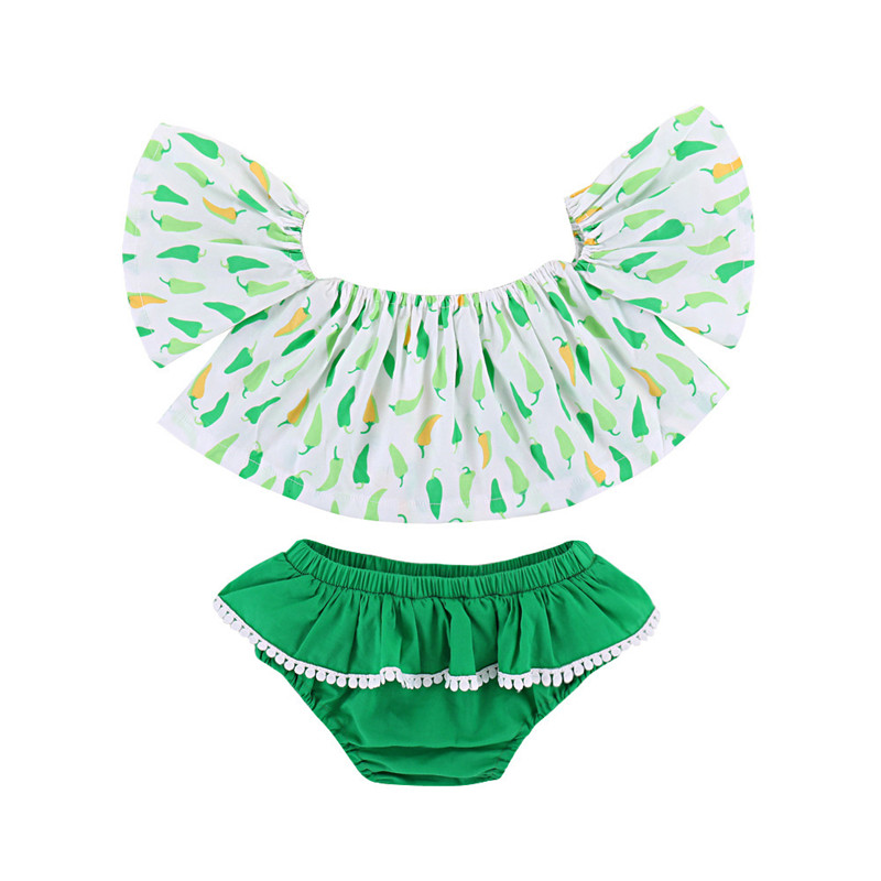 Hot Sale Baby Butterfly Sleeve Clothes Sets 2018 Kids Green Pepper Printed Shorts Pants Suit for Girls Summer Costume