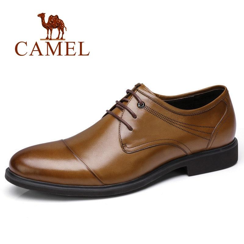 CAMEL Men dress shoes genuine leather shoes for men Business Work Soft male formal italian wedding shoe man zapatos hombre