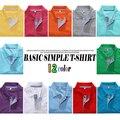 2016 Nueva Solapa de Los Hombres camiseta Básica Transpirable Primavera CH248 Estantes 12 Colores M-3XL Casual de las camisetas de Envío Libre