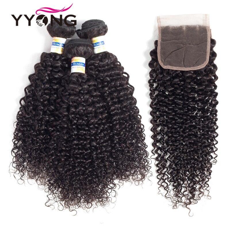 Yyong перуанский странный вьющиеся волосы 3bundles с закрытием кружева человеческих волос пучки с закрытием 100% человеческих волос ткать