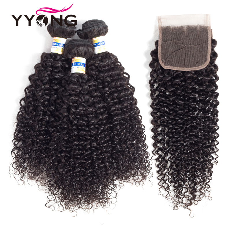 Yyong Peruvian Kinky Curly Hair 3 Bundles With Lace Closure Human Hair Bundles With Closure 100% Human Hair Weave Extensions ...