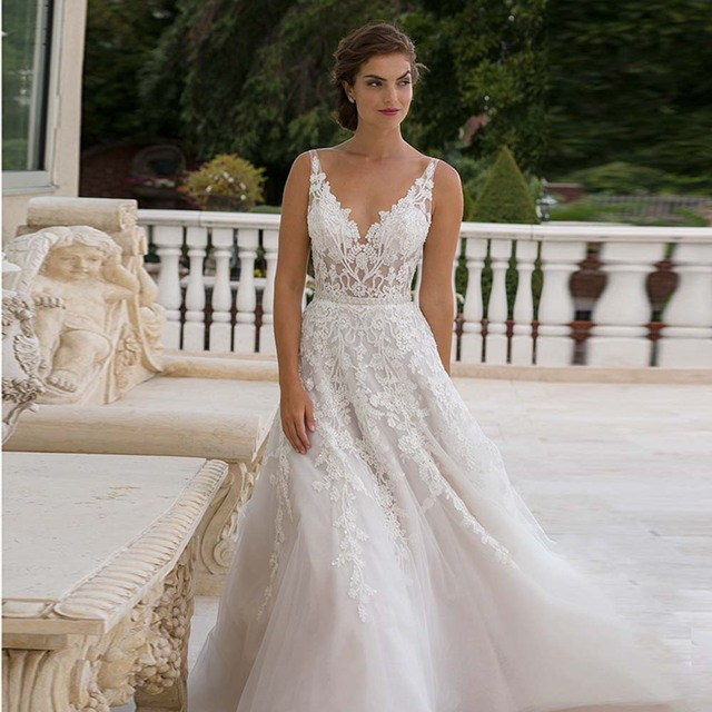 Glamorous Spaghetti Straps V neck Lace Wedding Dresses 2016 V back ...