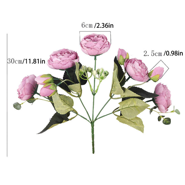 30cm Rose Pink Silk Bouquet Peony Artificial Flowers 5 Big Heads 4 Small Bud Bride Wedding Home Decoration Fake Flowers Faux 6