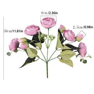 Image 5 - 30cm gül pembe ipek buket şakayık yapay çiçekler 5 büyük kafaları 4 küçük tomurcuk gelin düğün ev dekorasyon sahte çiçekler sahte