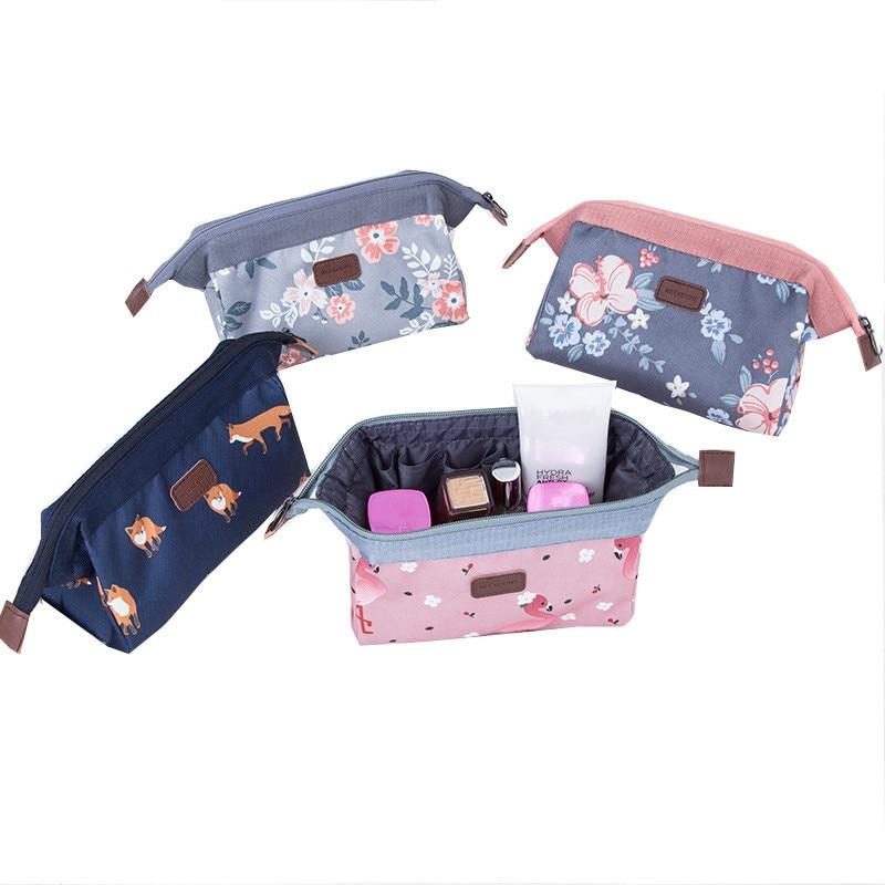 Cute Cartoon Flamingo Portable Zipper Cosmetic Bag Girl Canvas Makeup Organiser Case Cute Simple Sundries Storage Bags