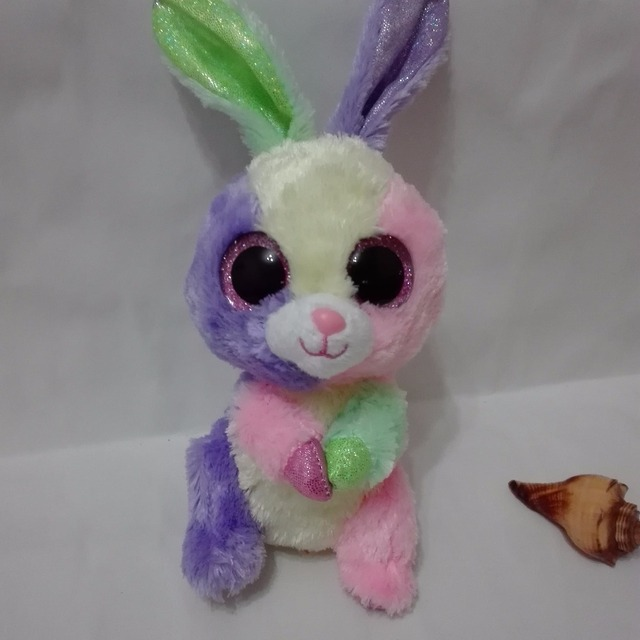 a62d7763a39 BLOOM multicolor bunny Rabbit with tag label TY BEANIE BOOS 1PC 15CM BIG  CRYSTAL Stuffed animals