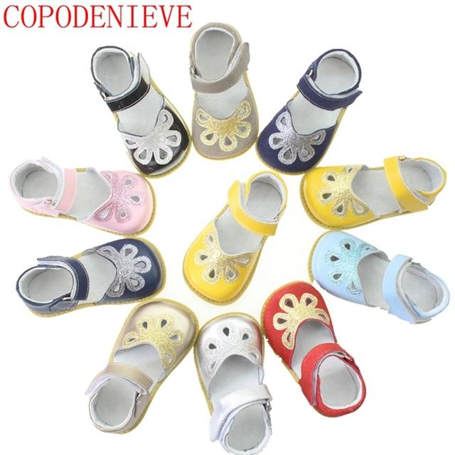 Copodenieve niños shoes girls shoes niños sandalias de moda más tamaño de cuero sandalias de la princesa niña niño sandalias cut-outs shoes