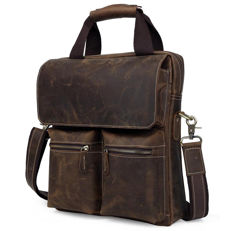 d4a49f060199 TIDING Retro style men vertical leather messenger bag 13 inch laptop brown  handbag 1072-in Crossbody Bags from Luggage   Bags on Aliexpress.com