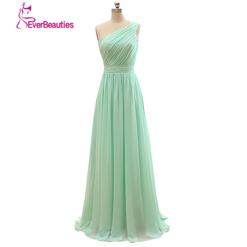 One Strap Wedding Gowns: One Strap Long Bridesmaid Dress Mint Green Chiffon A Line