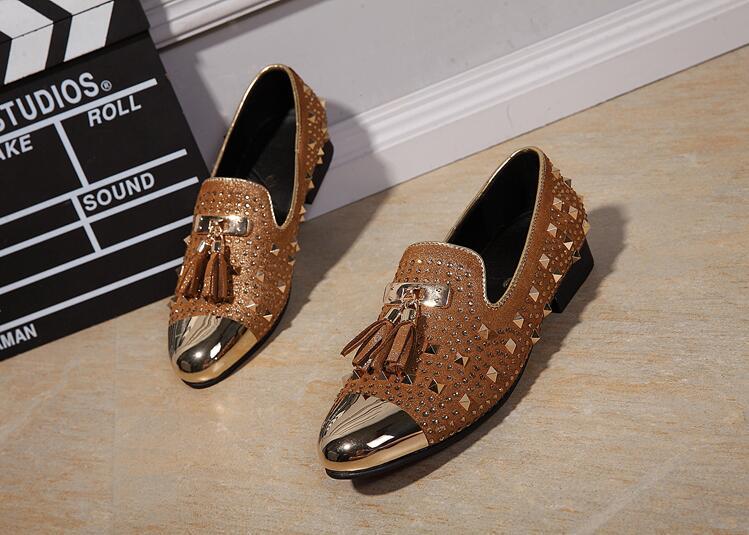 Прямая доставка Мода с бахромой и заклепками, модная обувь для вечеринок Для мужчин Элитный бренд дизайн Повседневное обувь, мужские лоферы... - 5