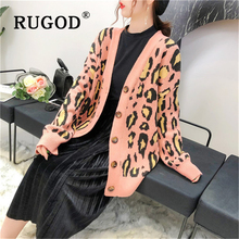 RUGOD Vintage new women leopard knitted Cardigan Fashion single-breasted auturm ladies sweaters Winter sweater and coats female