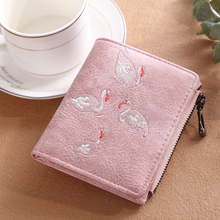 Women's wallet Korean version of hand-embroidered white swan wallet card bag purse Scrub leather wallet flamingo wallet