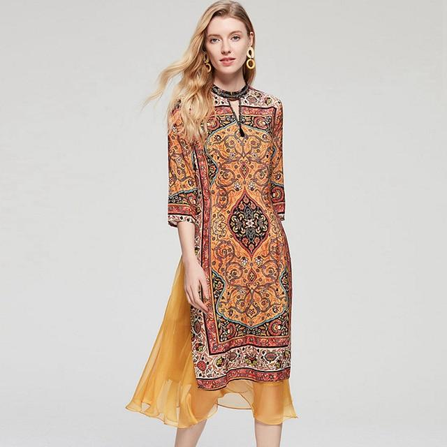 f2ef5e3537 100% Silk Dress Women Ethnic Print Beading Hollow O Neck Three-quarter  Sleeves Patchwork