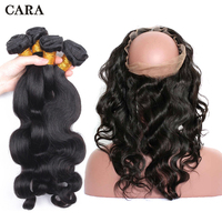 360 Lace Frontal With Bundle Body Wave Brazilian Virgin Weave Human Hair Extensions 360 Lace Frontal Closure With Bundles CARA
