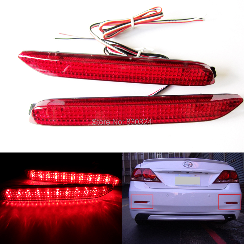 Red Len LED Rear Bumper Reflector Add On Tail Brake Stop
