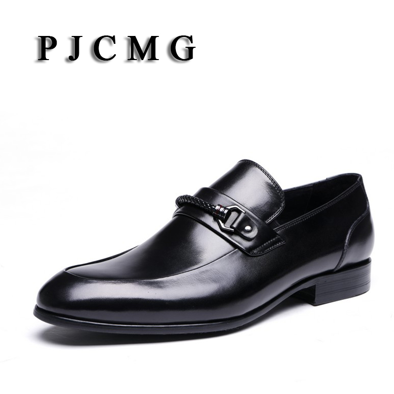 все цены на PJCMG Spring/Autumn Black/Wine Red Flats Loafers Slip-On Wedding Genuine Leather Wedding Oxford Dress Office Mens Shoes онлайн