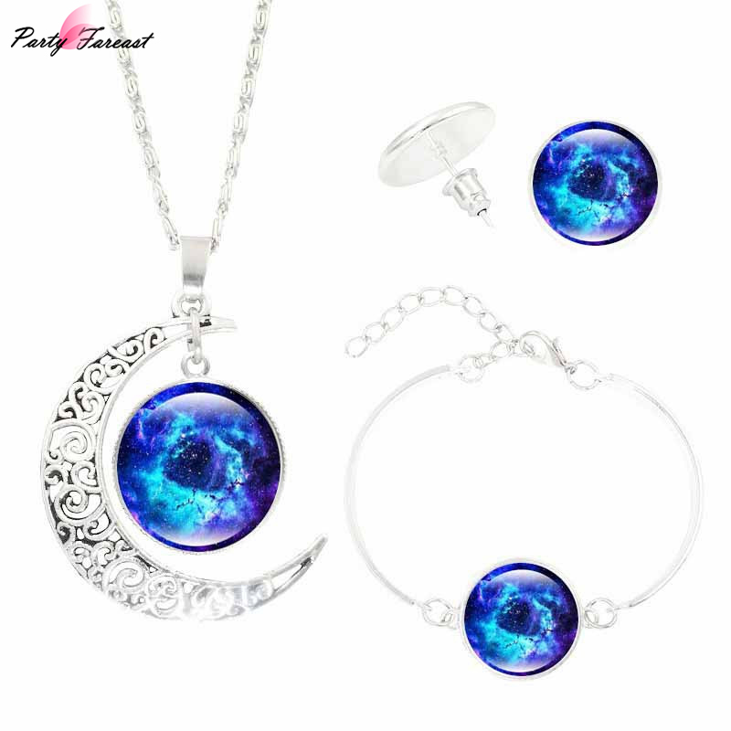 Partyfareast Milky Way Nebula Time Gem Jewelry Sets Statement Necklace Stud Earrings Bangles Bracelets For Women Indian Jewelry