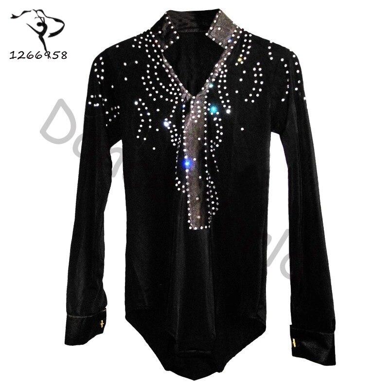 2018 Men/boy Latin Dance Dress Shirt High-grade Velvet&diamond Man Vestido De Baile Latino Dancewear Samba/waltz/ballroom Tops
