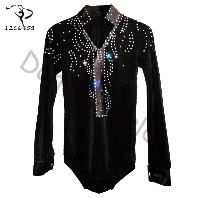 2018 Men/boy Latin Dance Dress Shirt High grade Velvet&diamond Man Vestido De Baile Latino Dancewear Samba/waltz/ballroom Tops