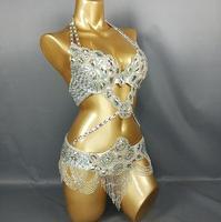 תחפושת ריקודי בטן של נשים ריקודי בטן בגדי ריקודי בטן סקסי ריקוד הלילה למעלה חזייה + חגורה סט 2 יחידות TF1732