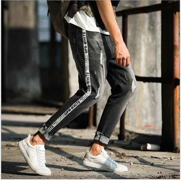 0c174a2261fe Black Men One Side Striped Biker Jeans Denim Ripped Male Holes Slim Fit  Stretch Hip Hop Jean Skinny Homme Pants China